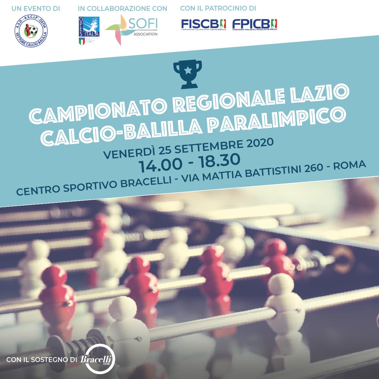 Locandina Campionato Regionale Lazio Calcio Balilla Paralimpico